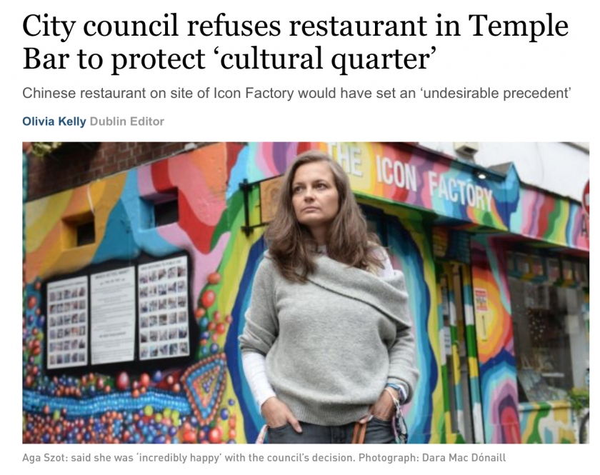 City council refuses restaurant in Temple Bar to protect 'cultural quarter'