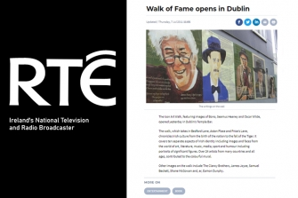 RTE - The Icon Art Walk, featuring images of Seamus Heaney and Oscar Wilde, opened yesterday in Dublin's Temple Bar.